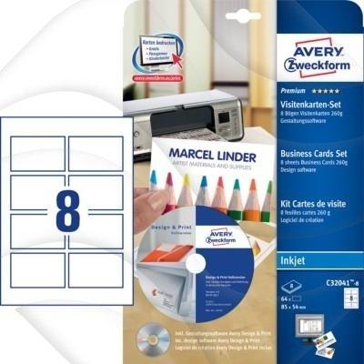 Zestaw Do Druku Wizytówek Quick Clean Cd Obustronne Wizytówki 64szt Avery 85x54 Białe Matowe No C32041 8